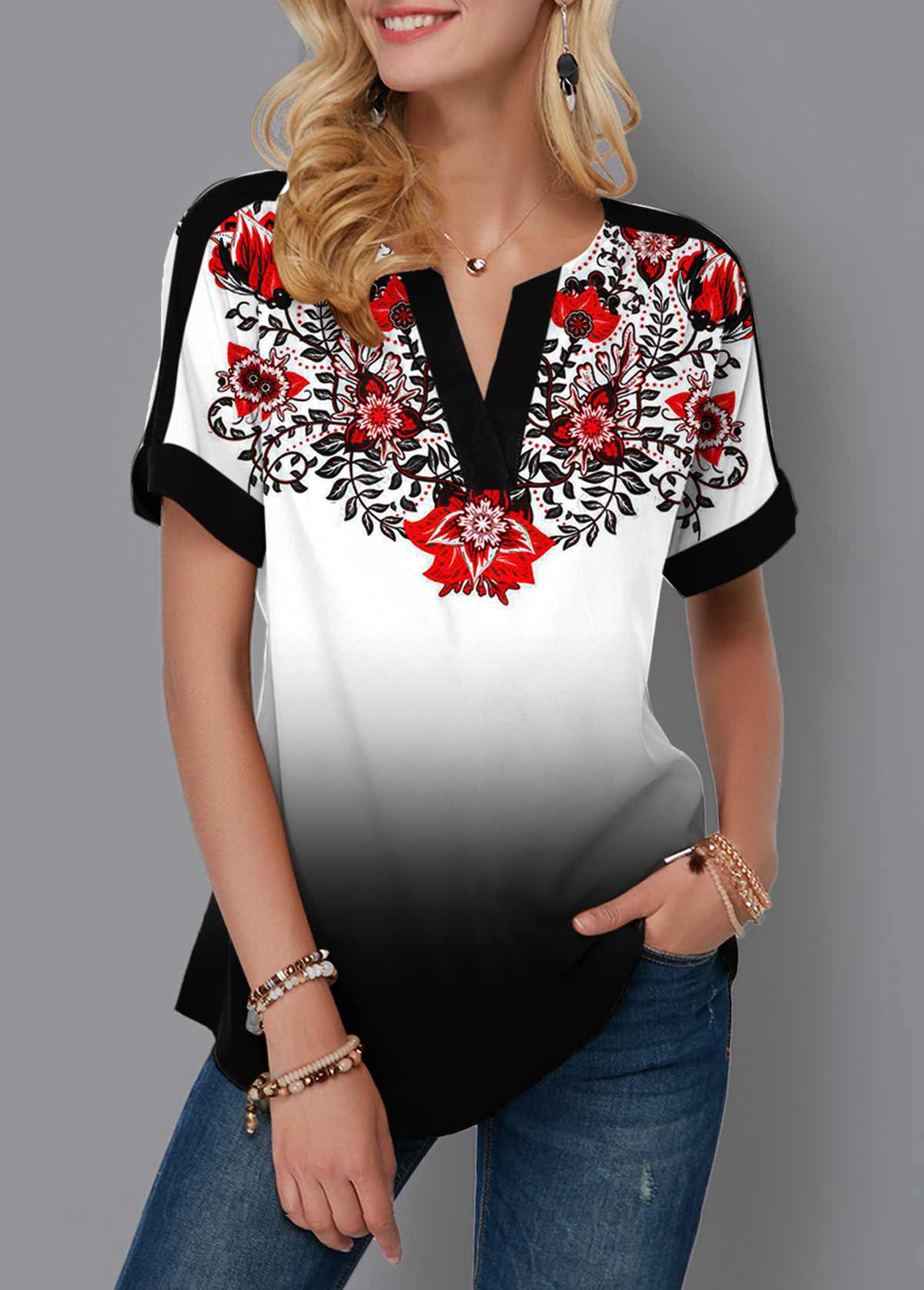 Gradient Split Neck Tribal Print Blouse