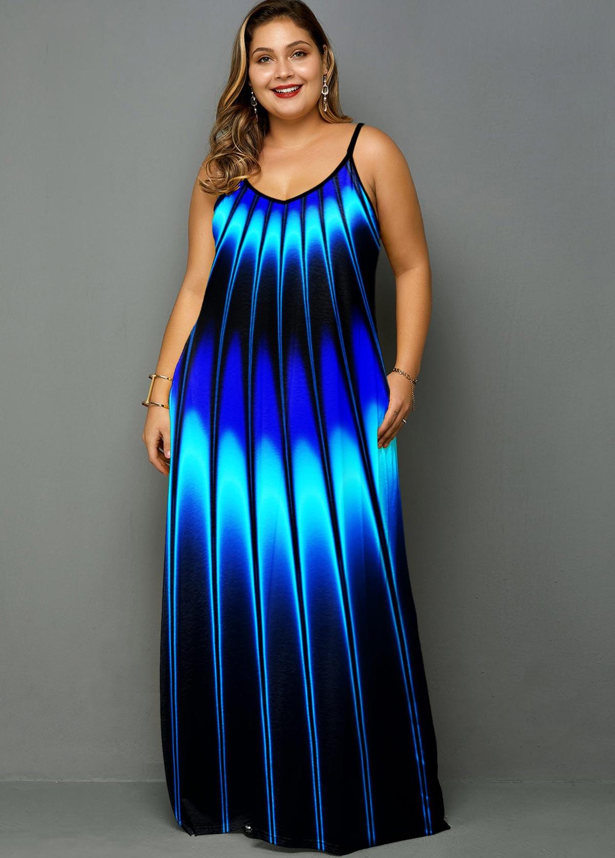 Stripe Print Spaghetti Strap Plus Size Dress