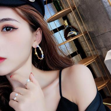 Rhinestone Embellished Gold Metal Earring Set for Women