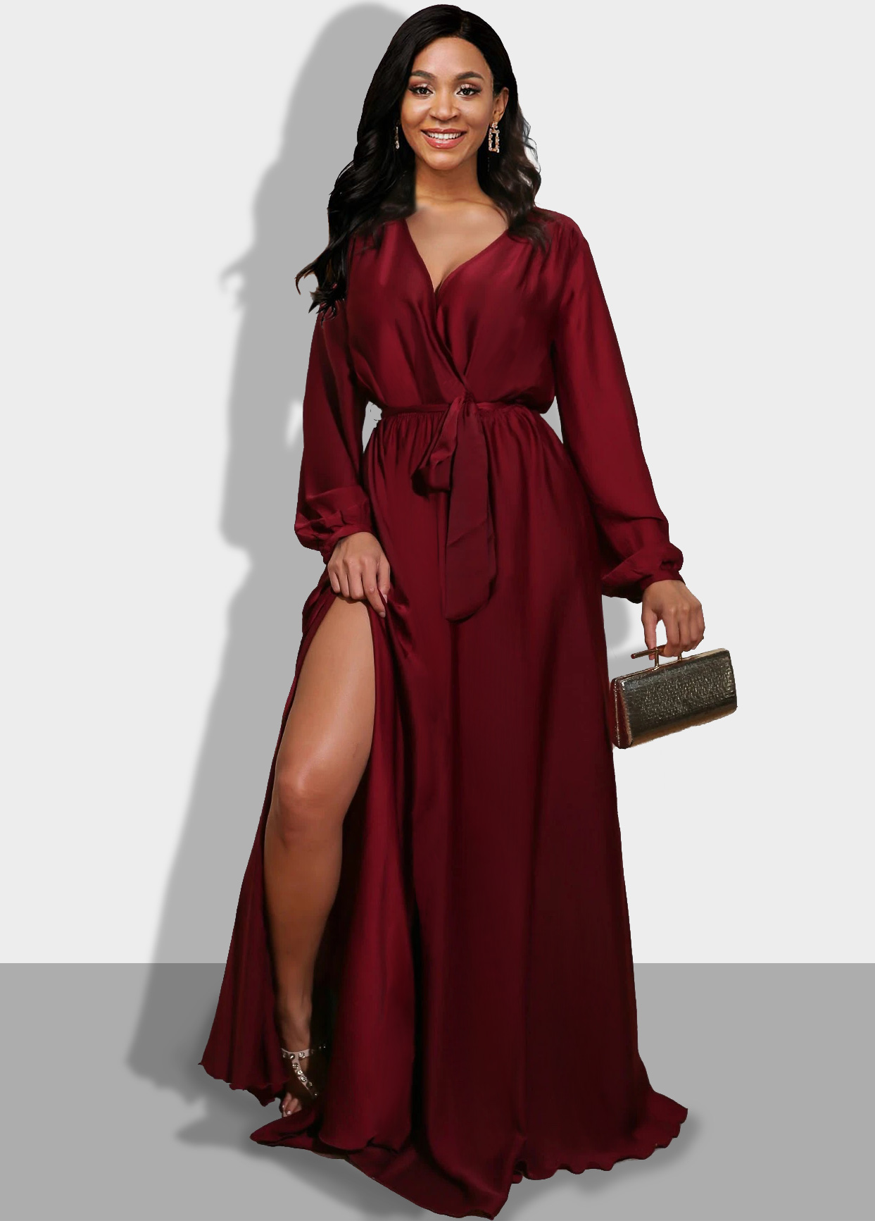 Long Sleeve Wine Red Side Slit Maxi Dress
