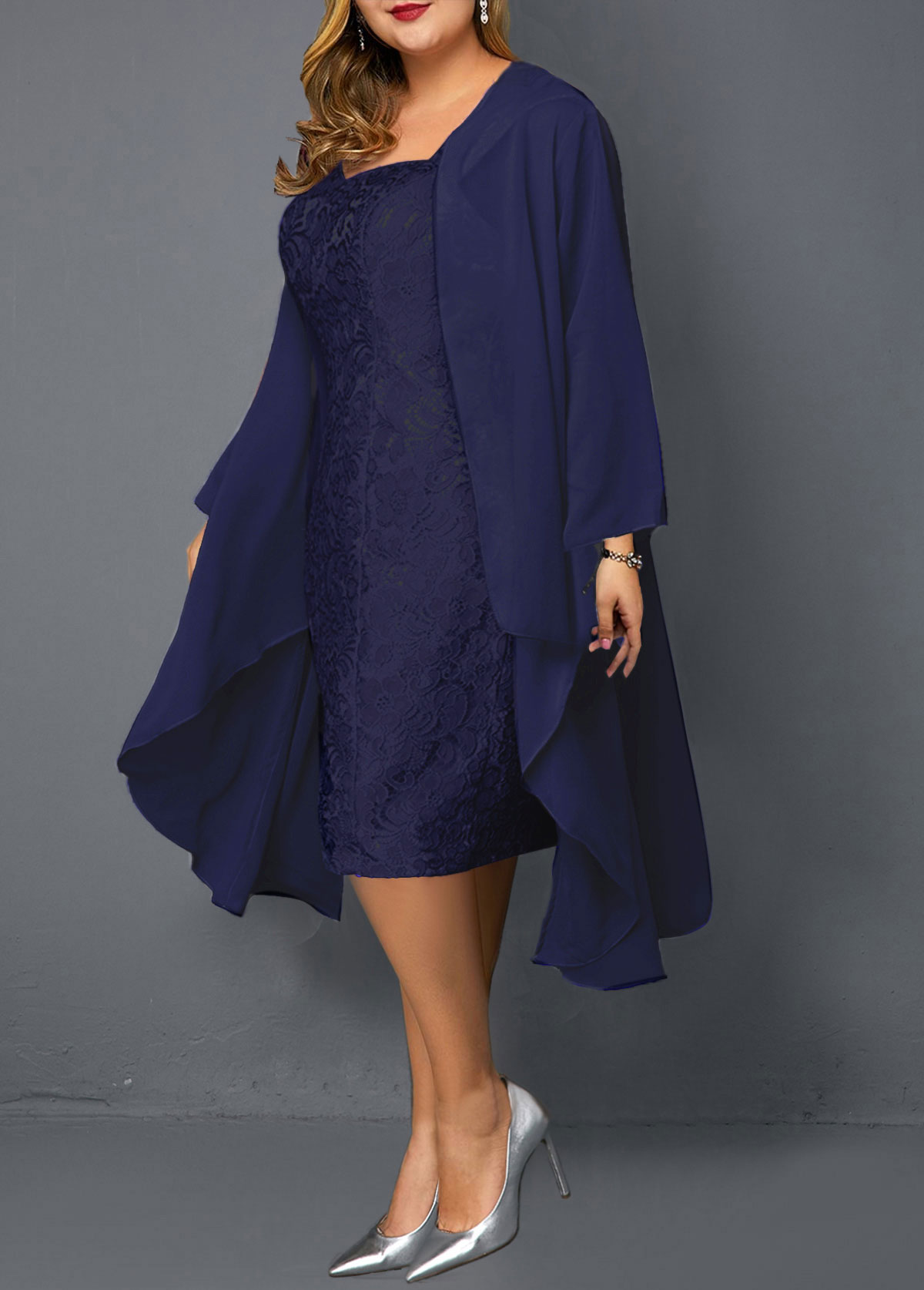 Plus Size Chiffon Cardigan and Sheath Dress