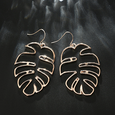 Gold Metal Leaf Shape Hollow Earring Set