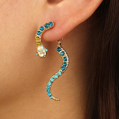 Rainbow Rhinestone Metal Snake Shape Earring Set