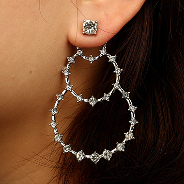 Silver Metal Circle Shape Rhinestone Embellished Earring