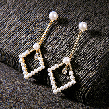 White Rhinestone Embellished Pearl Detail Earring Set