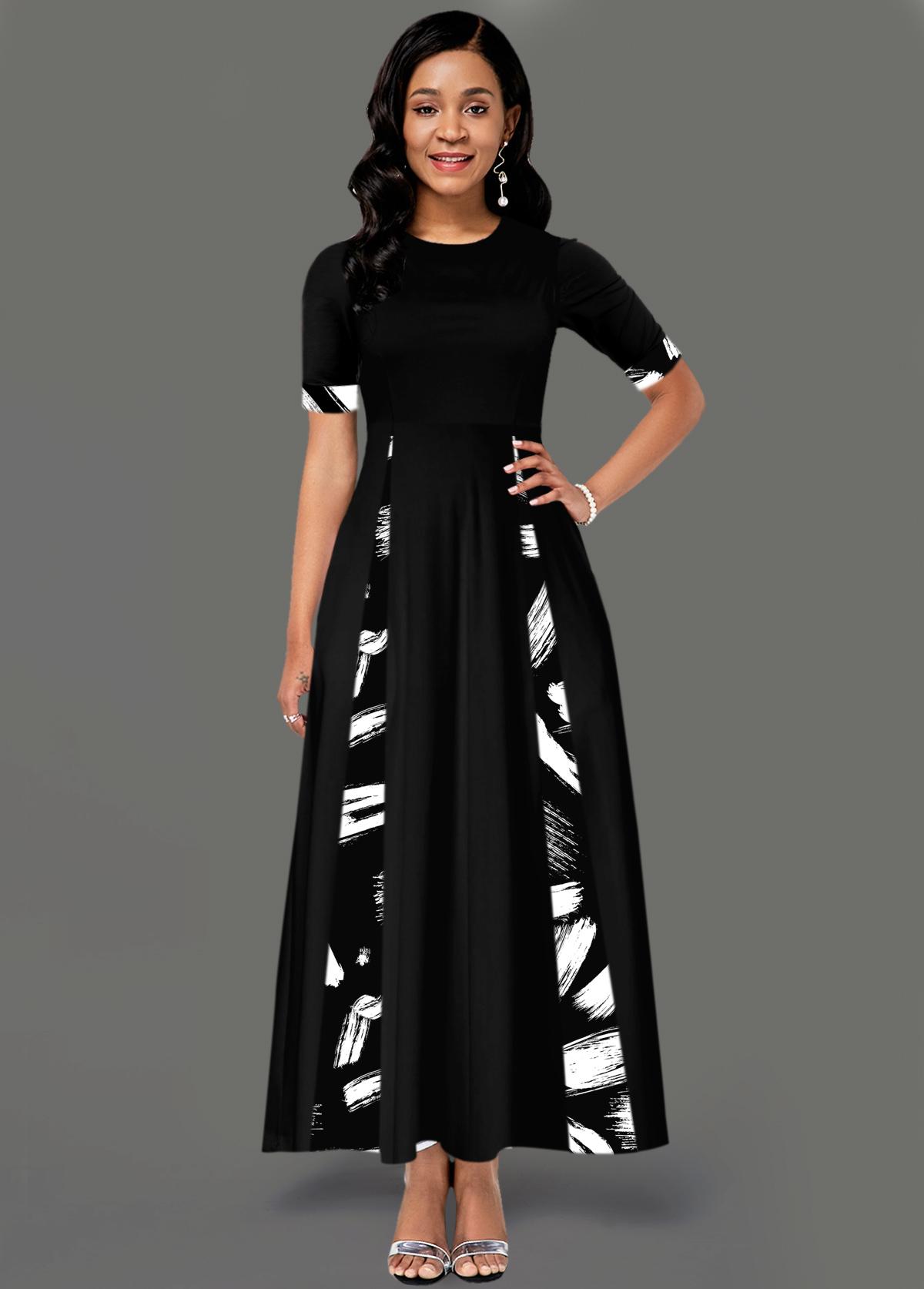 Round Neck Short Sleeve Pocket Printed Dress