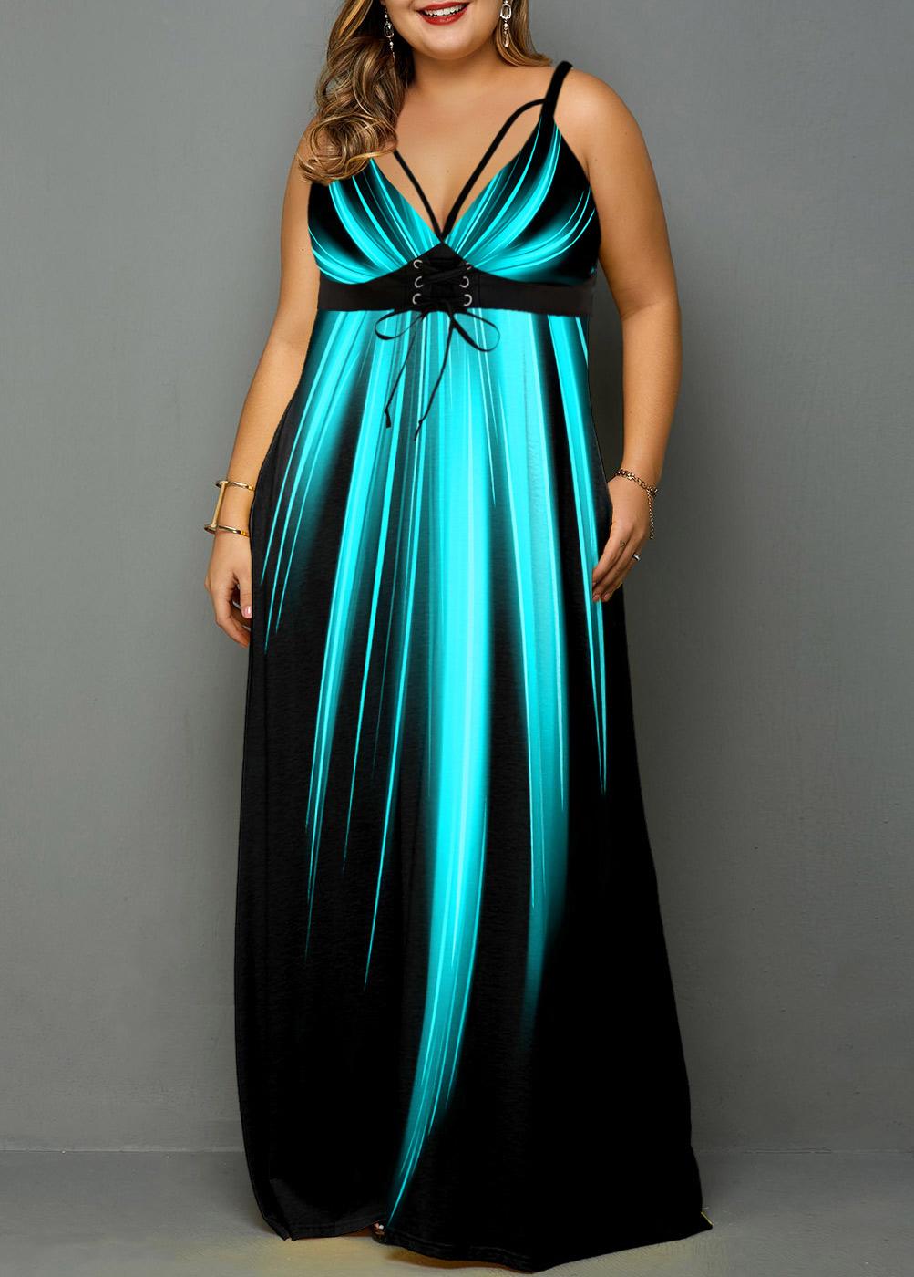 Palm Leaf Print Spaghetti Strap Plus Size Dress