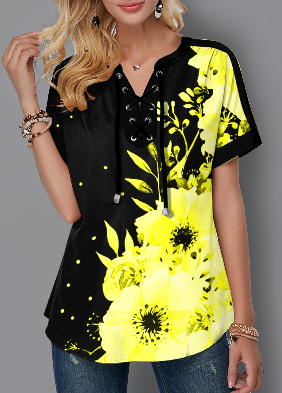Lace Up Short Sleeve Floral Print Blouse