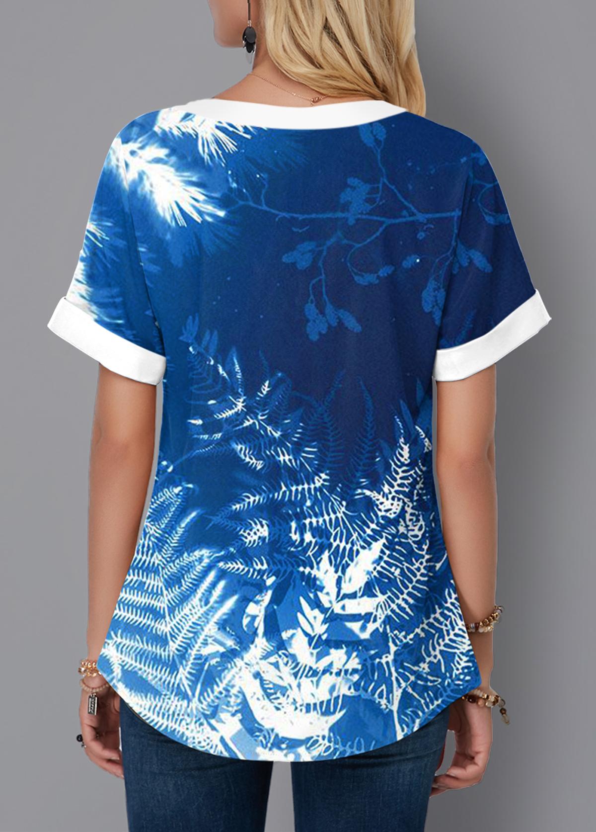 Lace Up Tie Dye Tropical Print Blouse