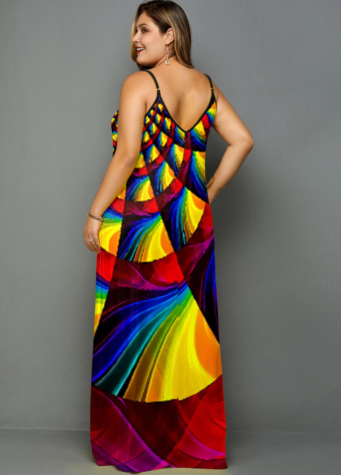 Plus Size Rainbow Color Geometric Print Side Pocket Dress