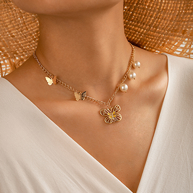 Gold Metal Butterfly Pendant Pearl Detail Necklace