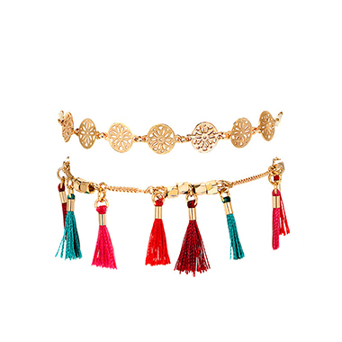 Gold Metal Tassel Hem Beads Anklet Set