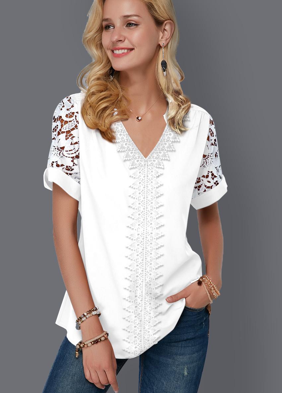 Short Sleeve Lace Panel Split Neck Blouse
