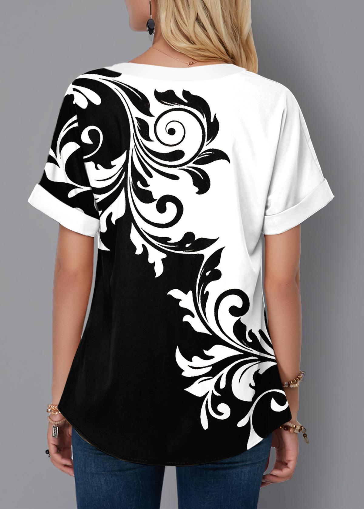 Lace Up Tribal Print Color Block Blouse