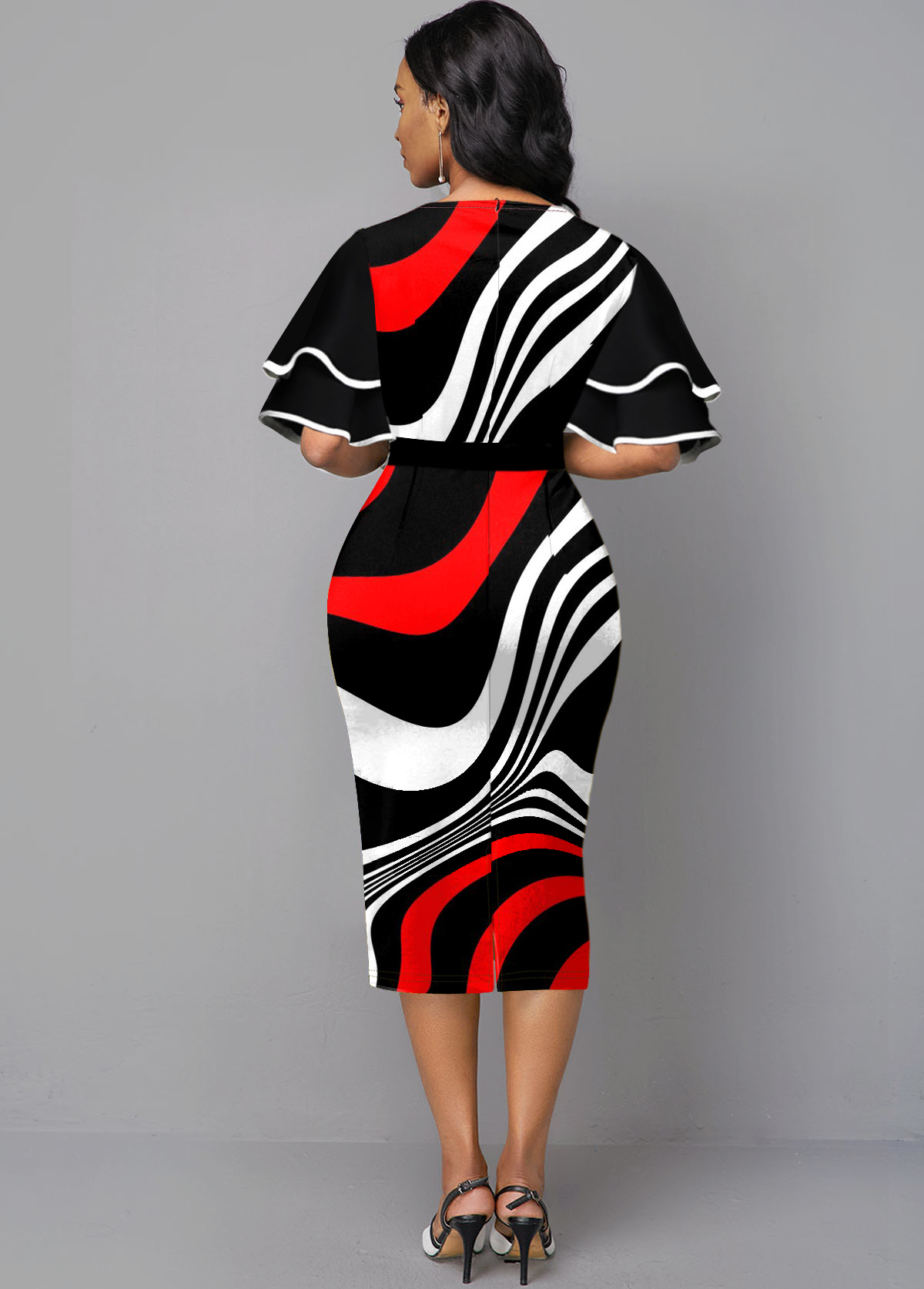 Ruffle Sleeve Stripe Print Contrast Sheath Dress