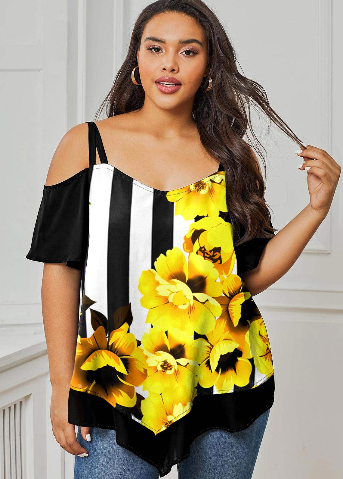 Stripe and Floral Print Plus Size T Shirt