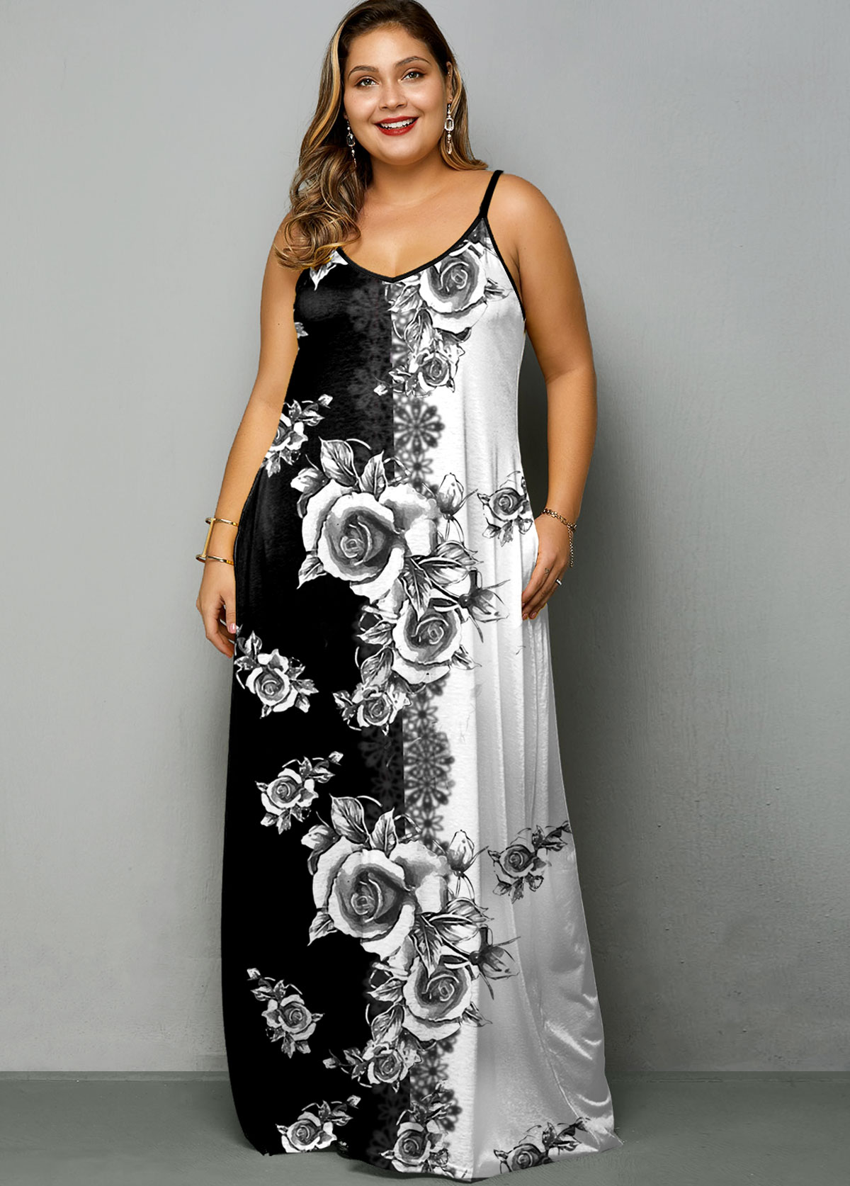 Tie Dye Print Spaghetti Strap Plus Size Dress
