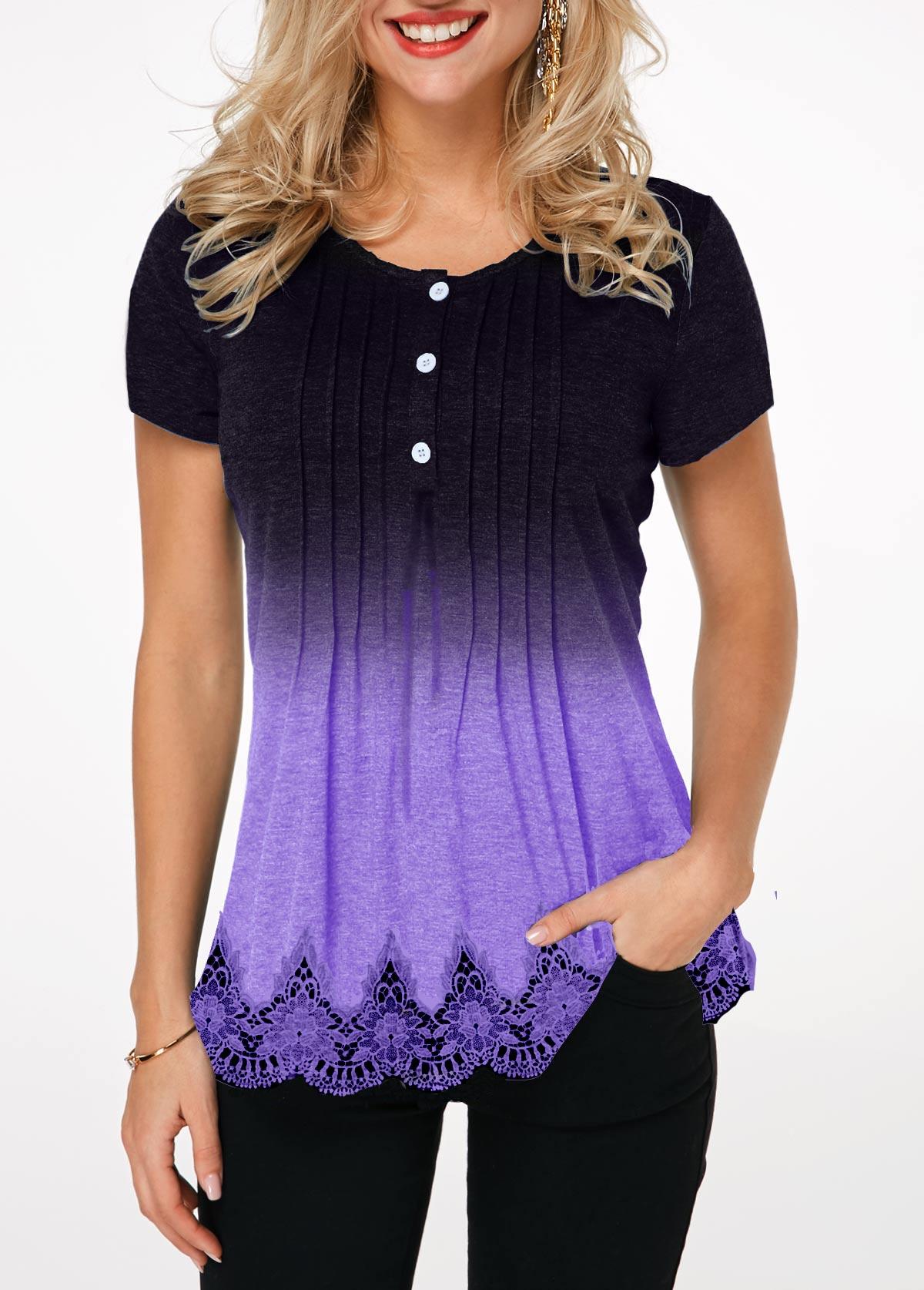Crinkle Chest Lace Hem Ombre T Shirt