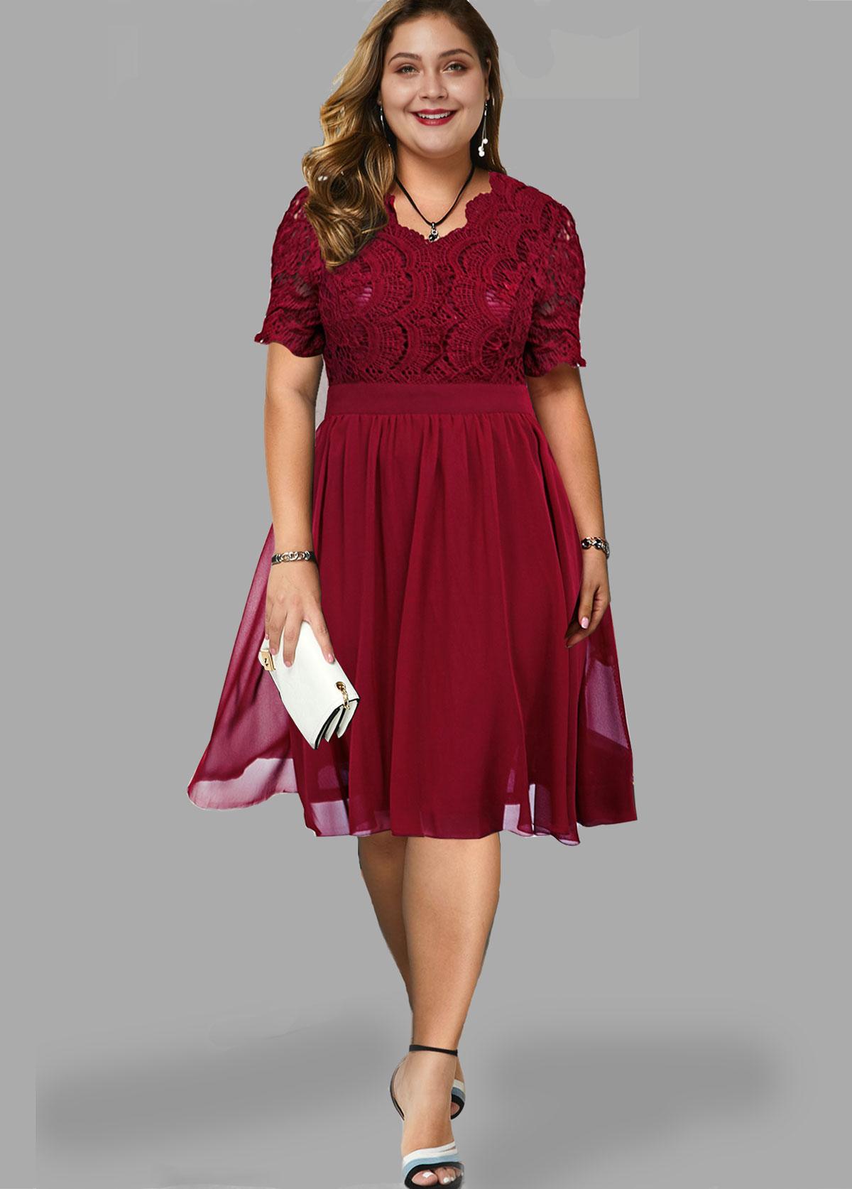 Lace Panel Short Sleeve Plus Size Dress
