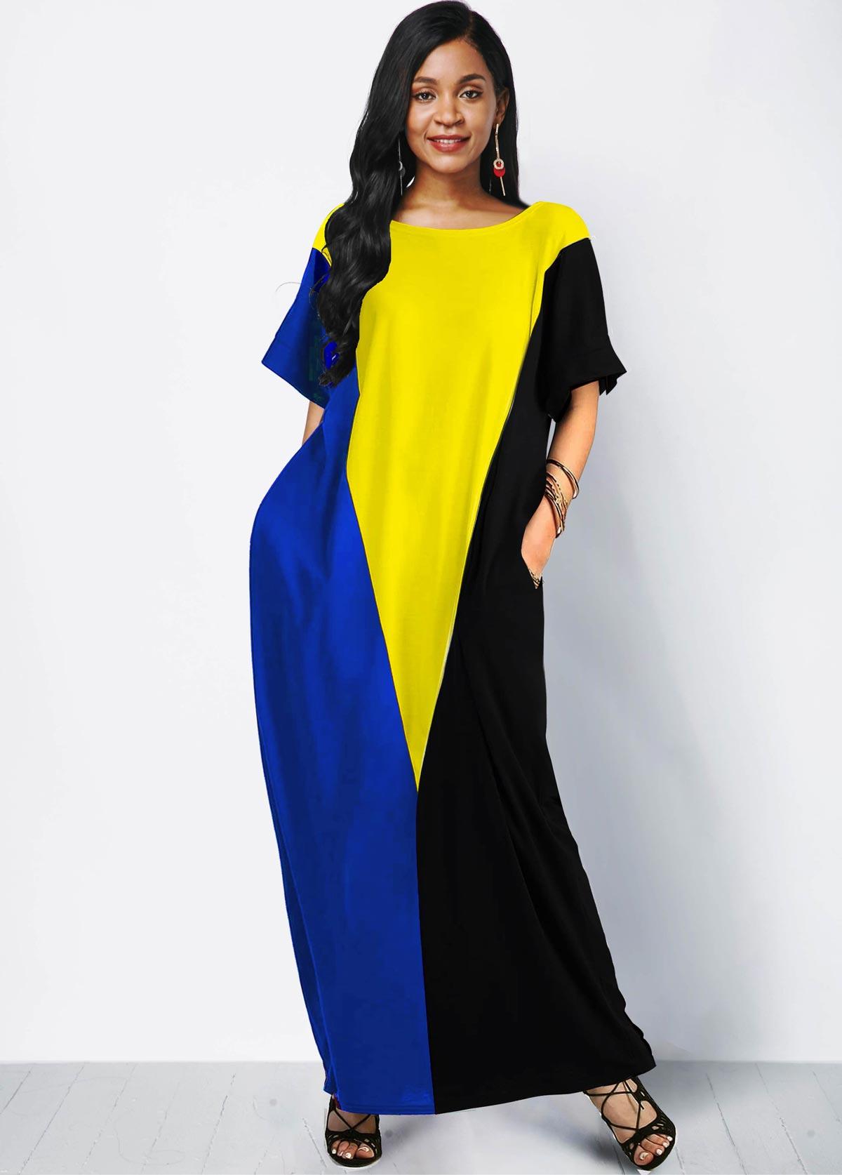 Short Sleeve Side Pocket Color Block Maxi Dress