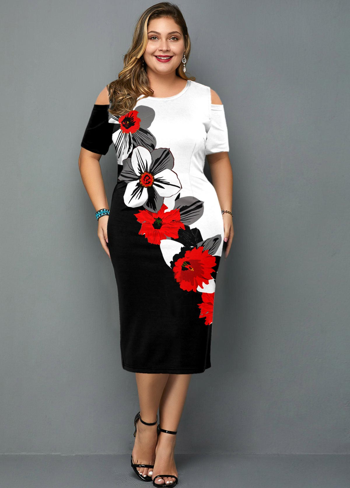 Floral Print Cold Shoulder Plus Size Dress
