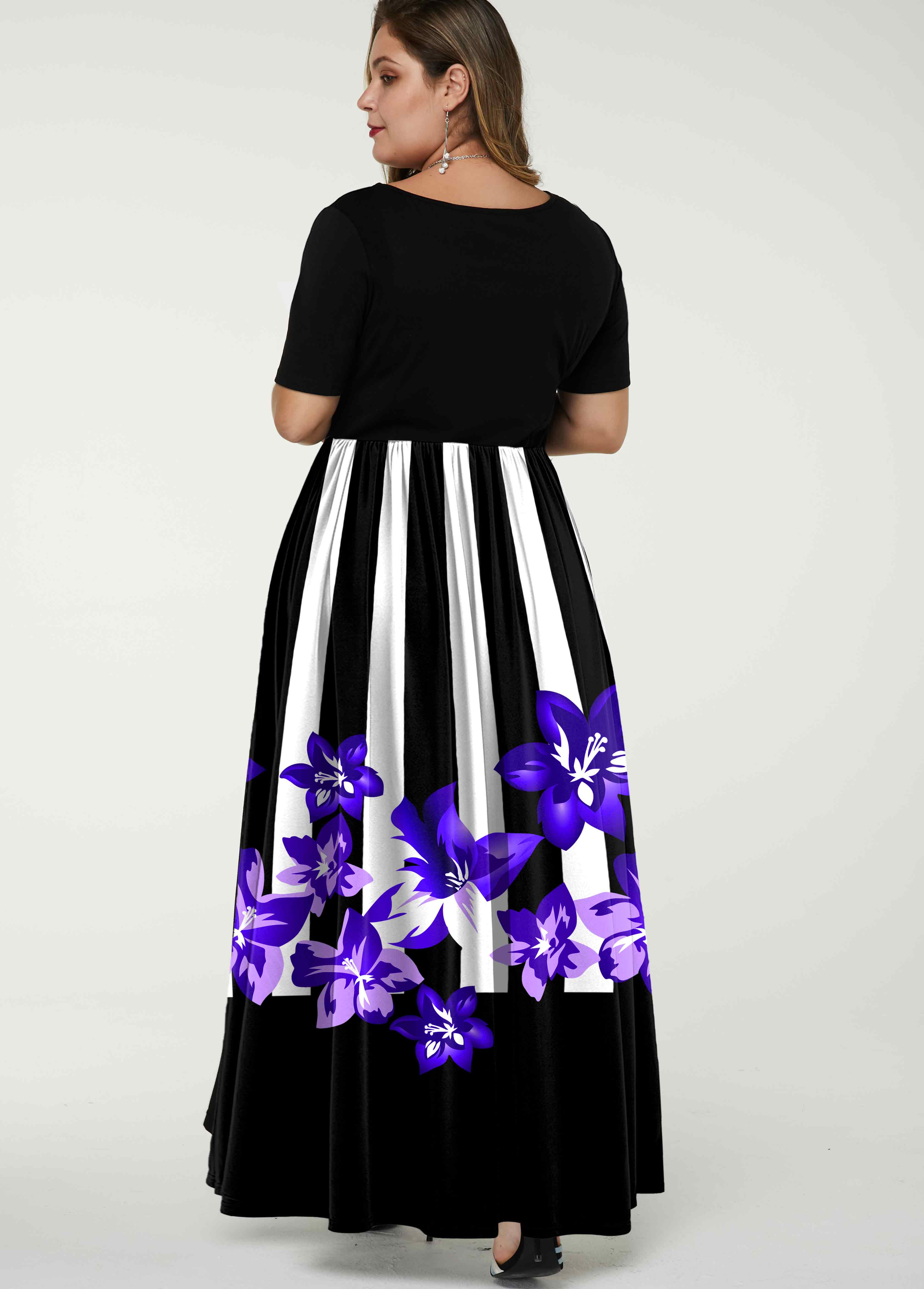 Stripe and Floral Print Plus Size Dress