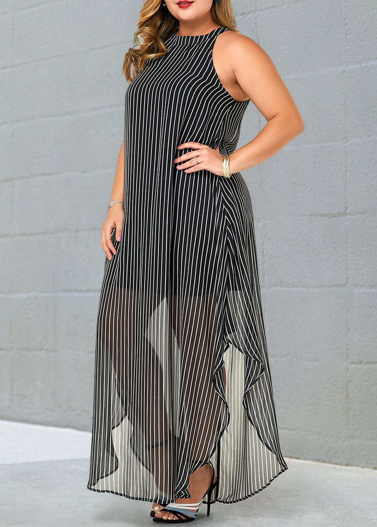 Plus Size Bib Neck Semi Sheer Striped Dress