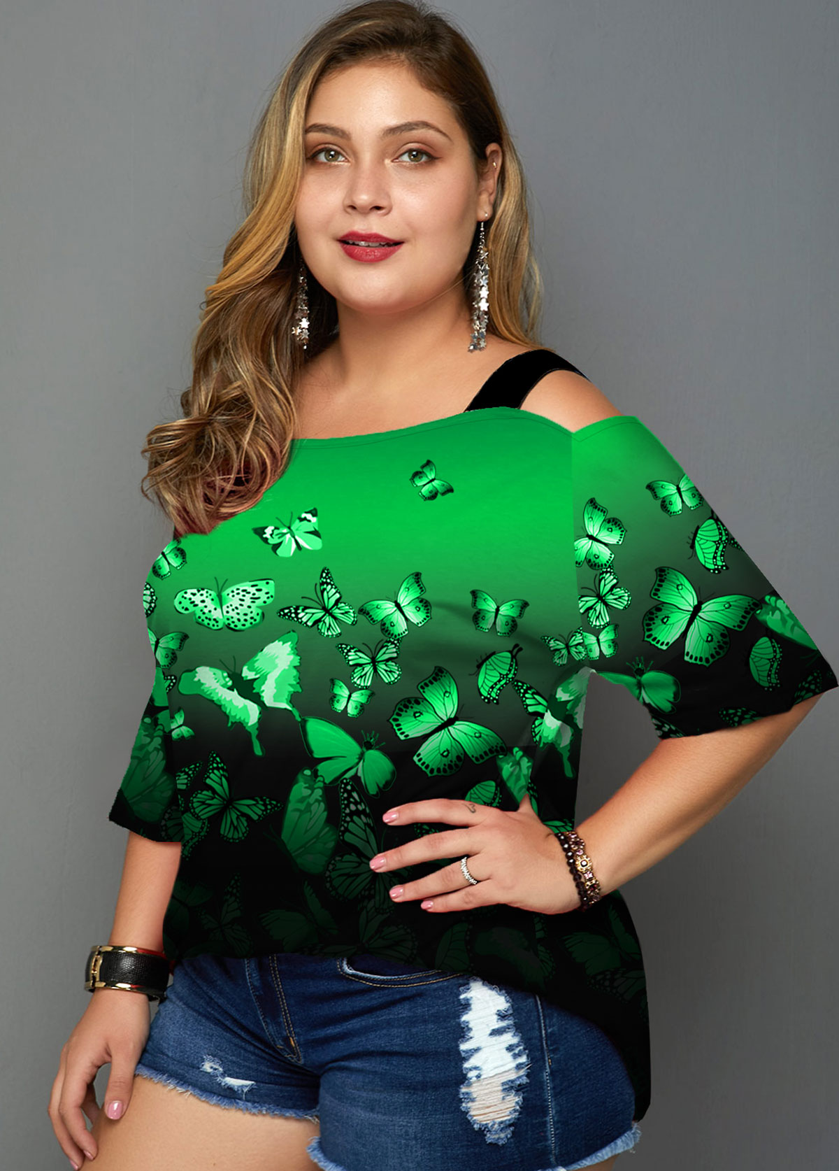 Plus Size Butterfly Print Ombre Cold Shoulder T Shirt