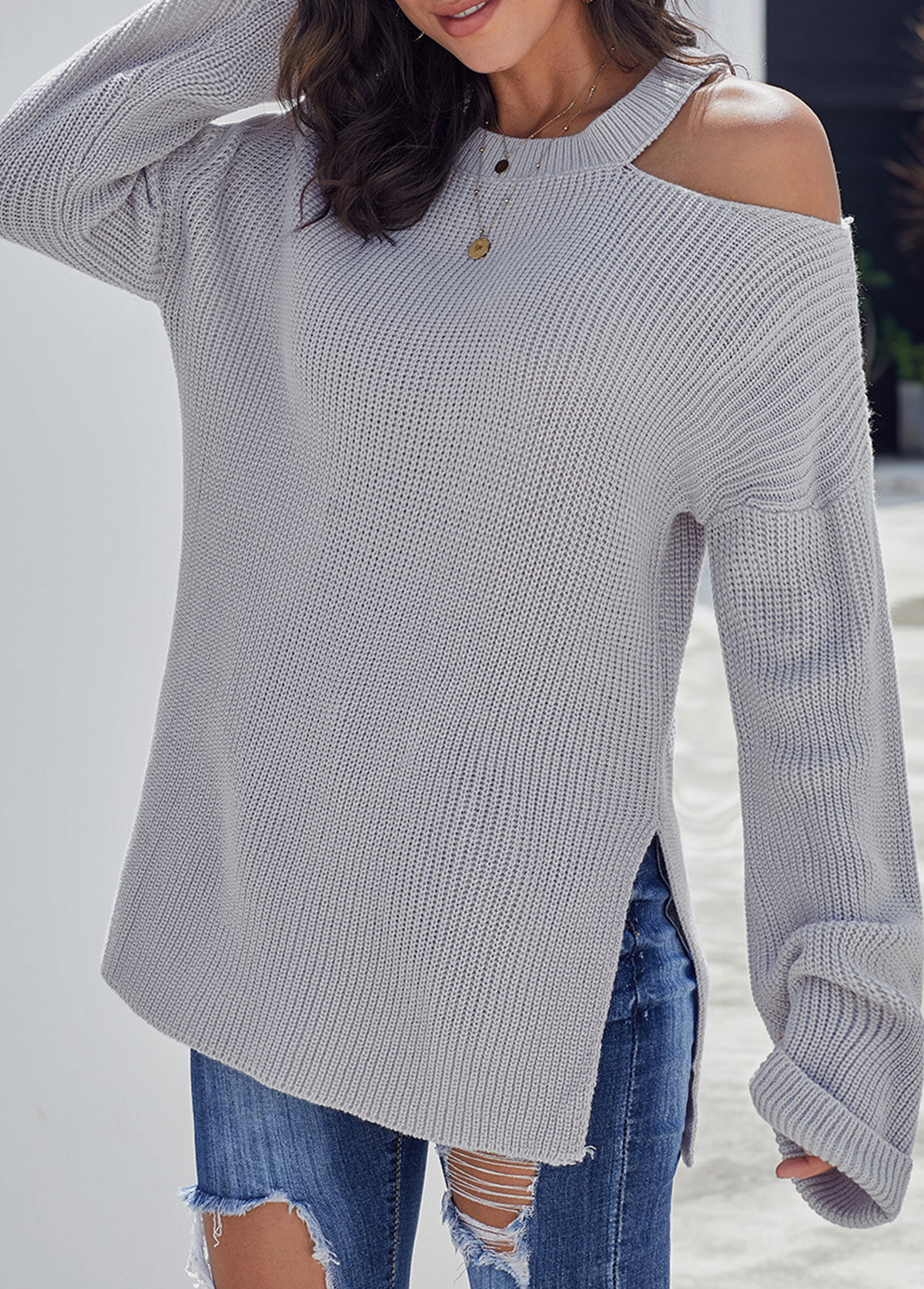 Light Grey Cold Shoulder Double Slit Sweater
