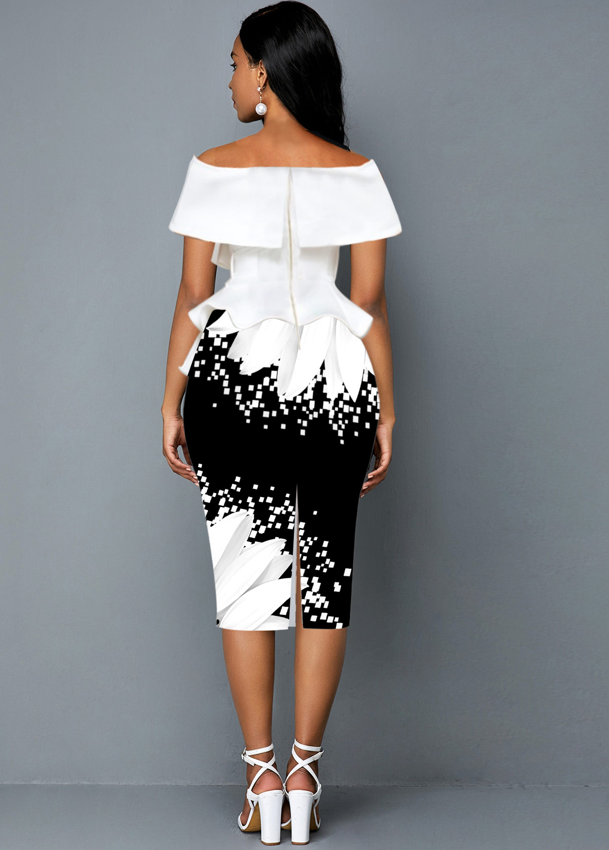 Belted Sunflower Print Off the Shoulder Foldover Dress