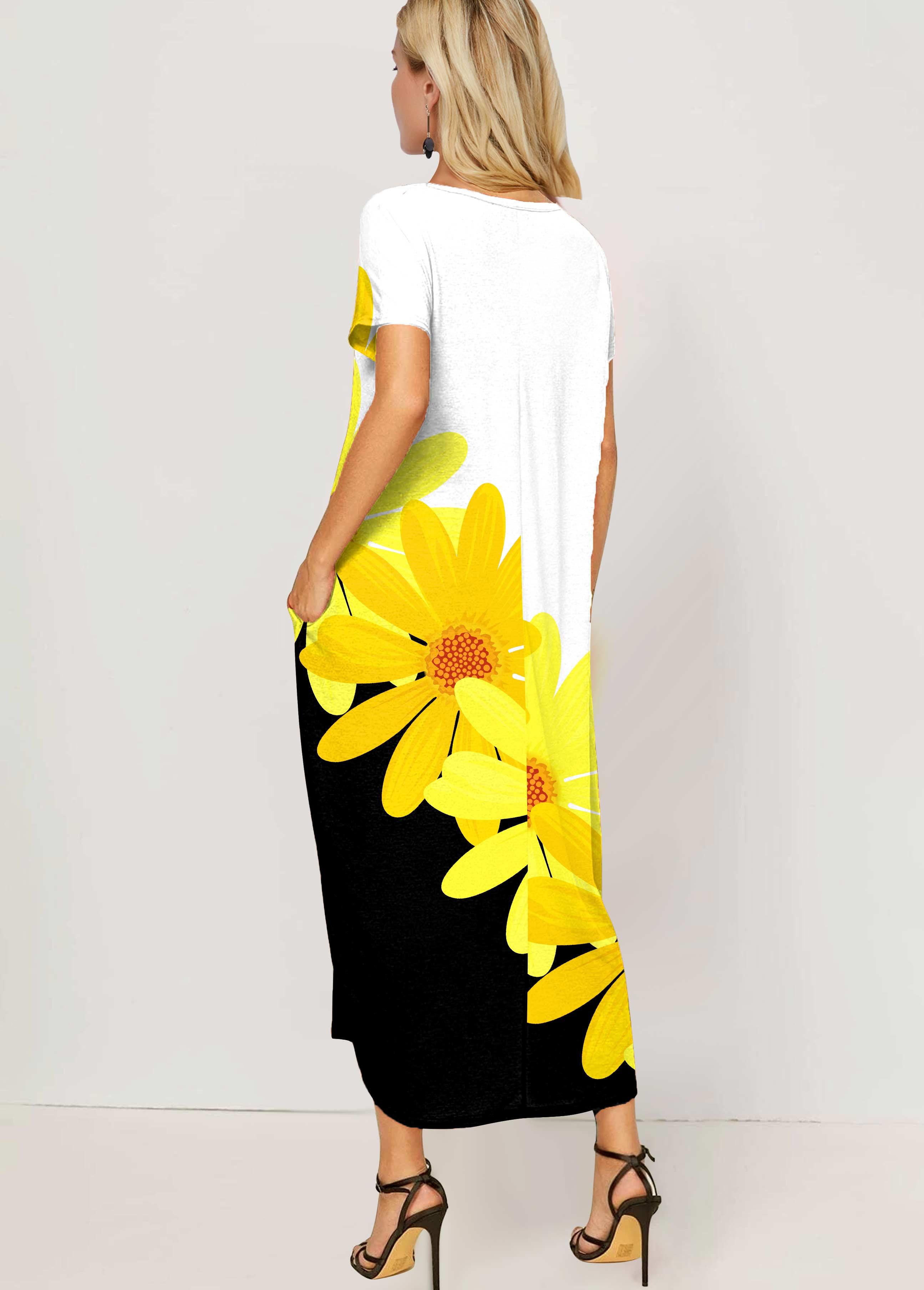 Side Pocket Color Block Daisy Print Maxi Dress