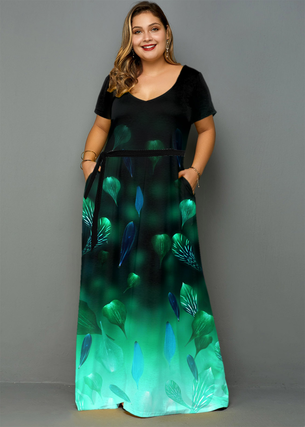 Side Pocket Printed Ombre Plus Size Dress