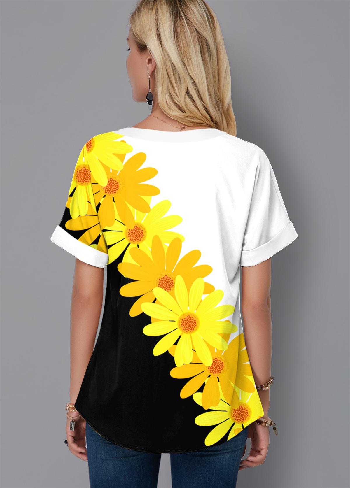 Lace Up Color Block Daisy Print Blouse