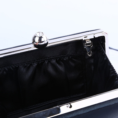 Black PU Metal Chain Evening Bag