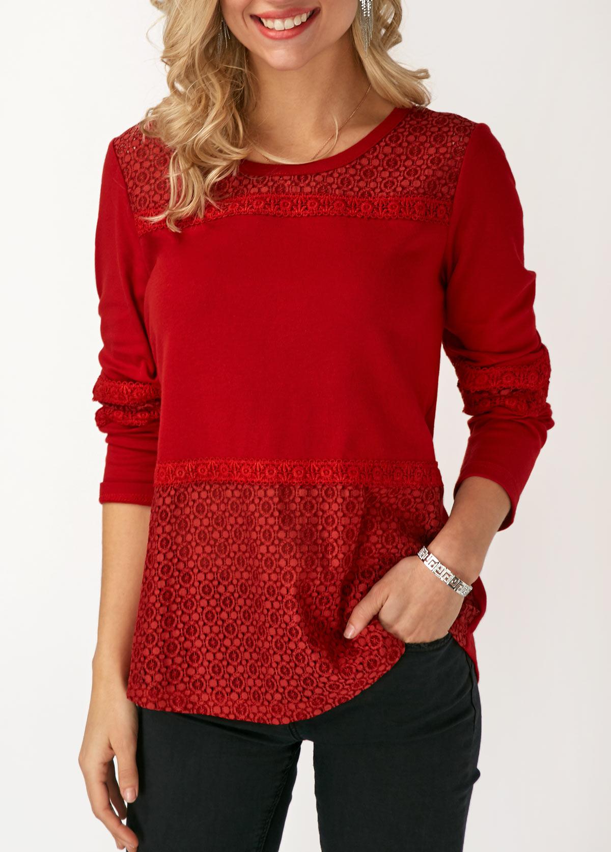 Long Sleeve Lace Panel Round Neck T Shirt