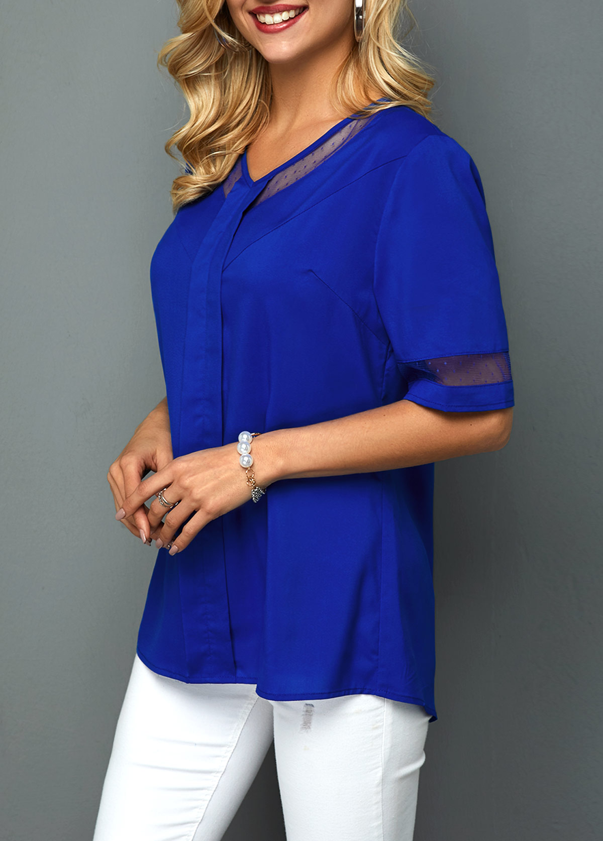 V Neck Half Sleeve Mesh Panel Blouse