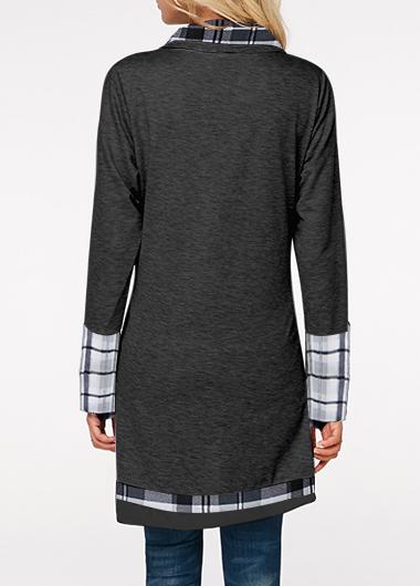 Turndown Collar Plaid Print Inclined Button Sweatshirt