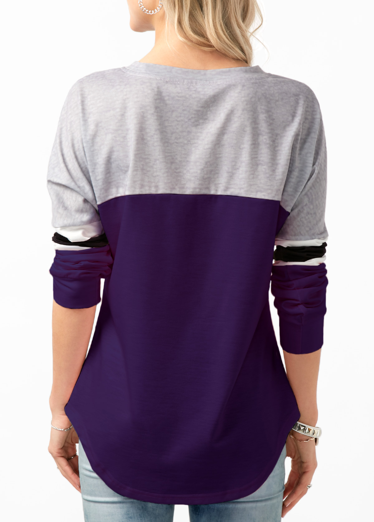 Lace Up Contrast Long Sleeve Sweatshirt