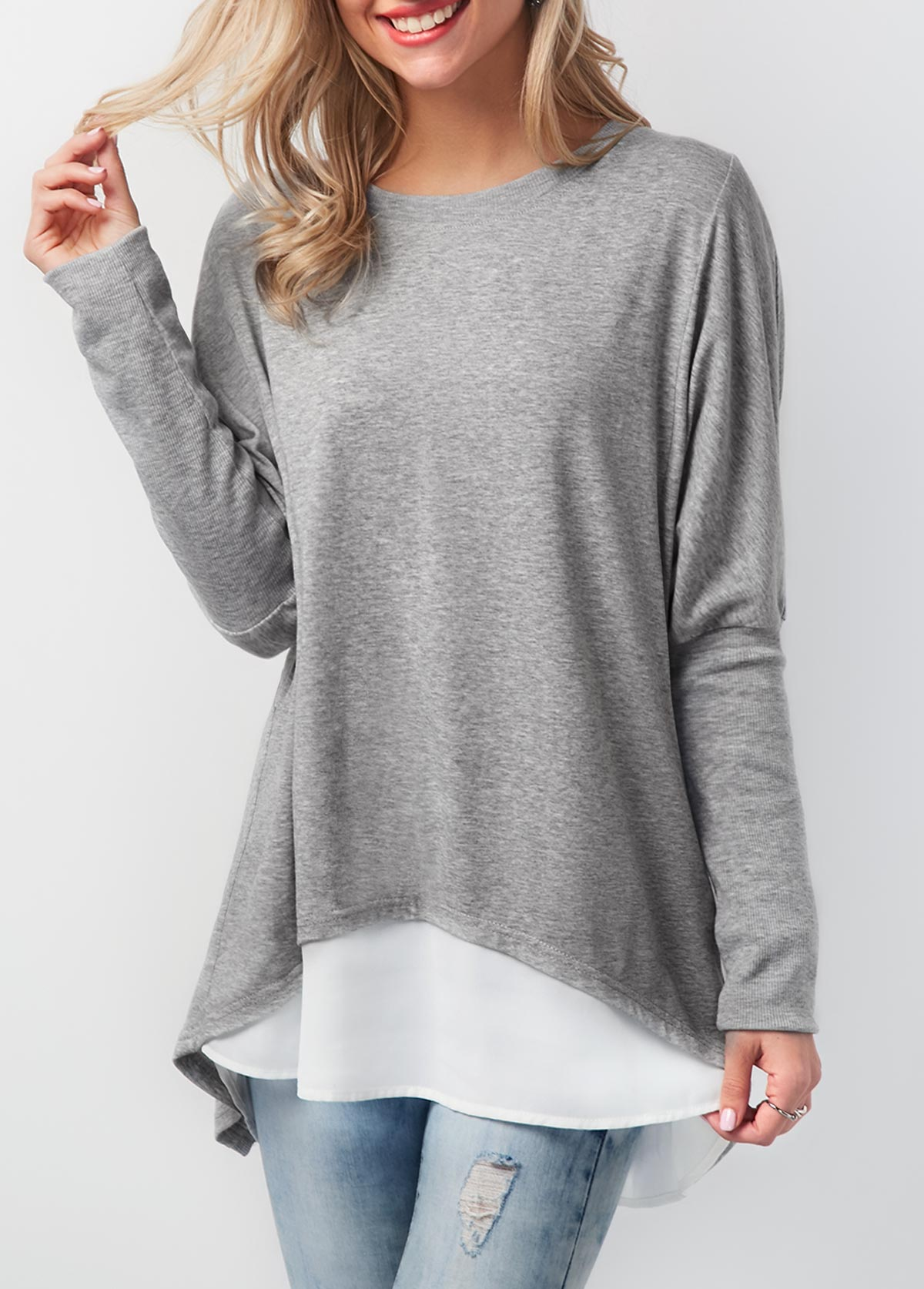 Button Back Contrast Round Neck T Shirt