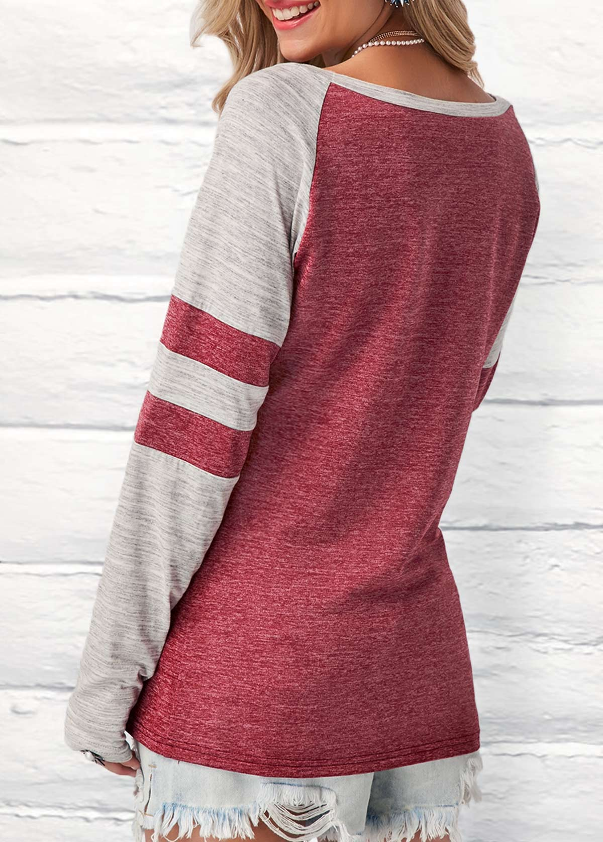 Long Sleeve Round Neck Contrast T Shirt