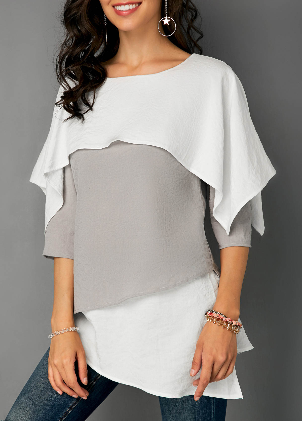 Overlay Detail Layered Hem Contrast Blouse