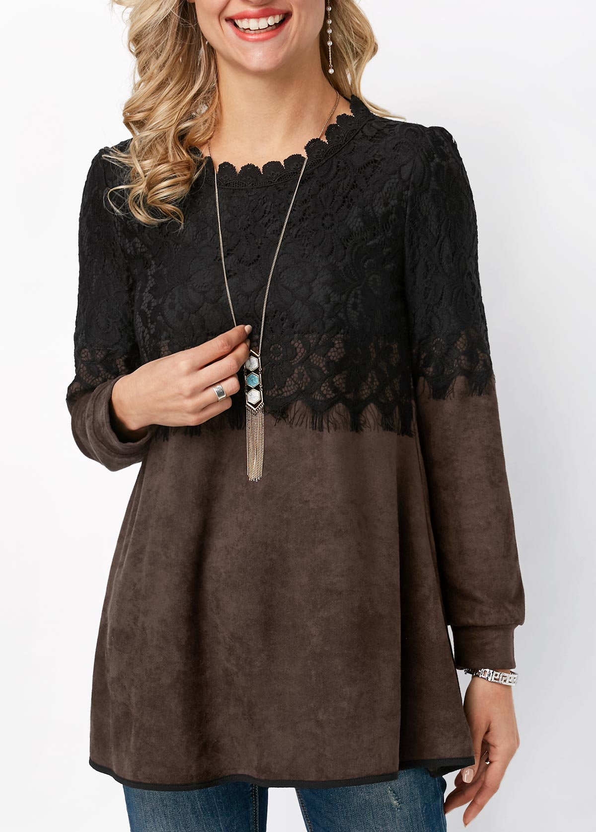 Round Neck Long Sleeve Lace Panel T Shirt