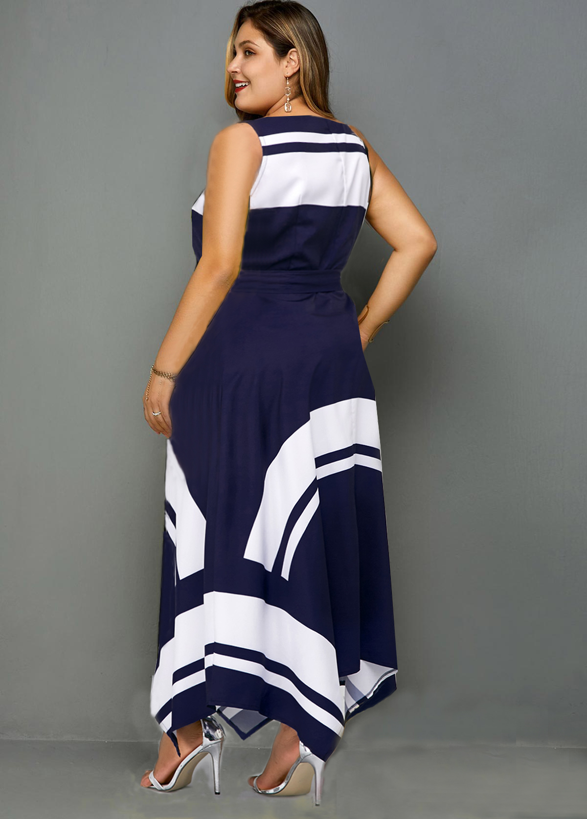 Asymmetric Hem Contrast Belted Plus Size Dress