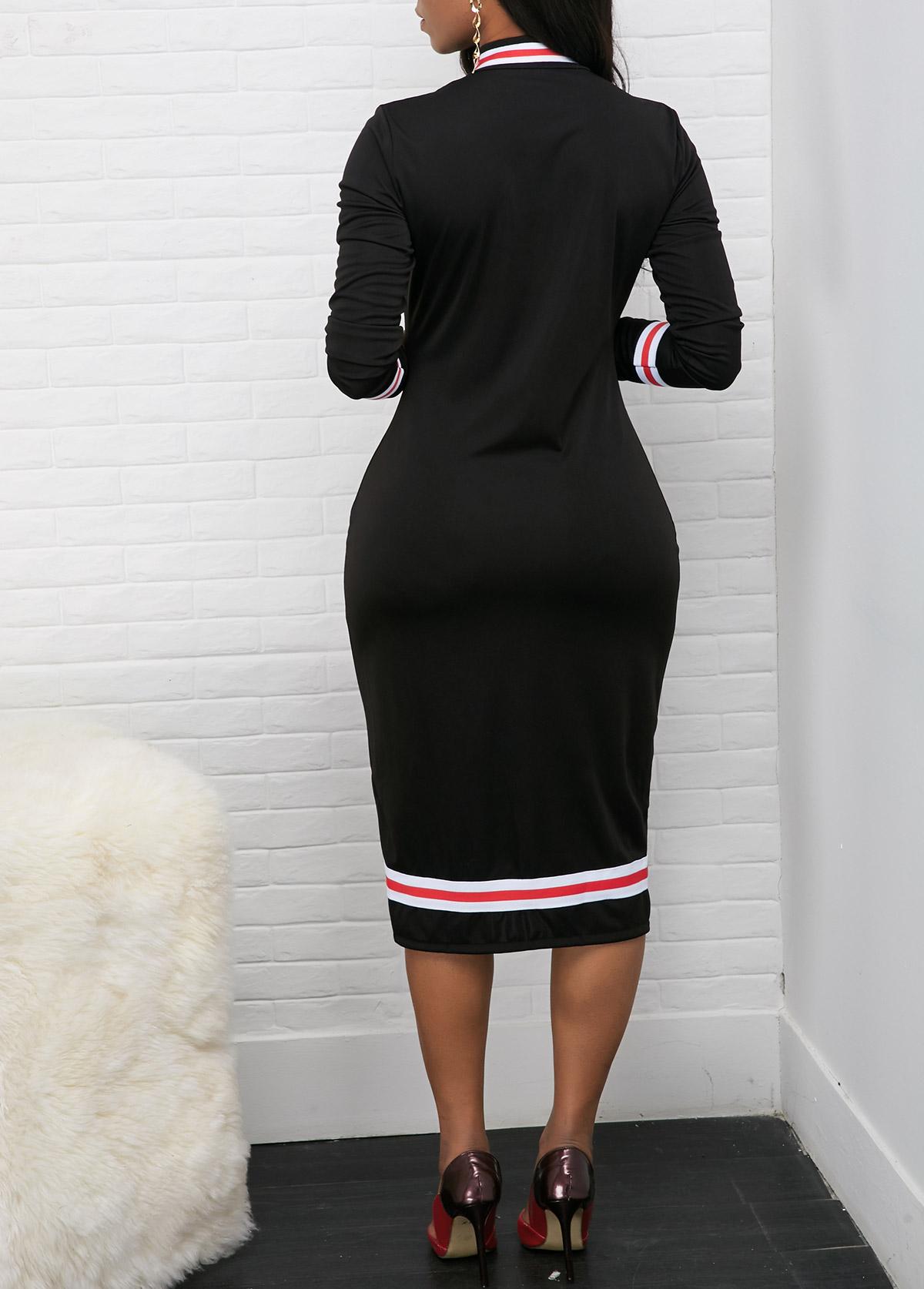 Long Sleeve Contrast Striped Quarter Zip Dress