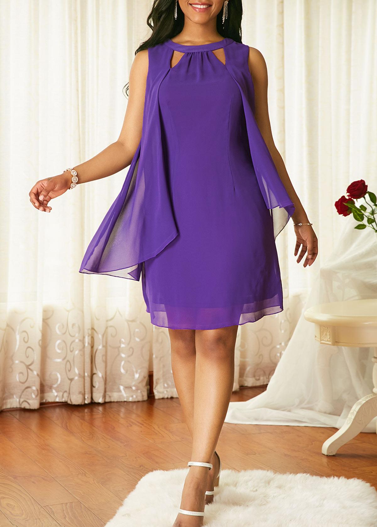 Cutout Front Sleeveless Chiffon Overlay Dress