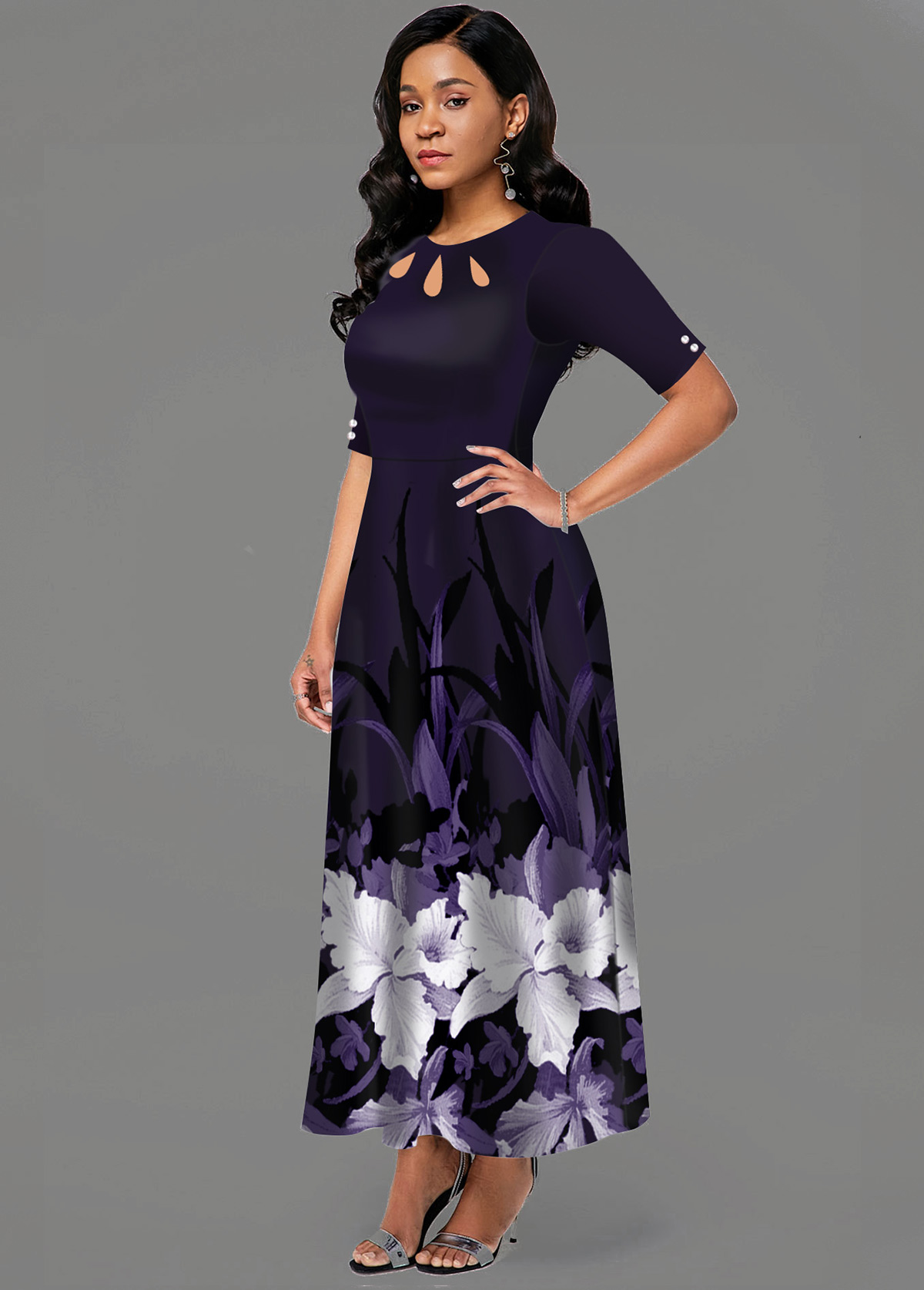 Cutout Neck Side Pocket Floral Print Maxi Dress