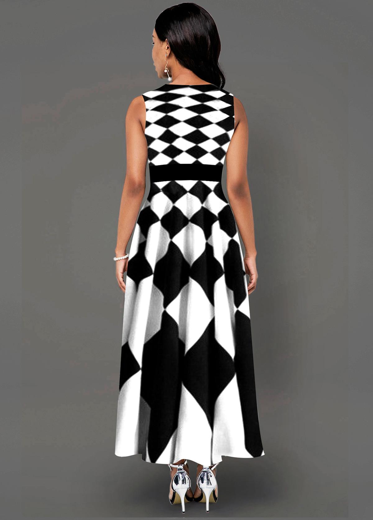 Sleeveless Geometric Print Side Poclket Maxi Dress