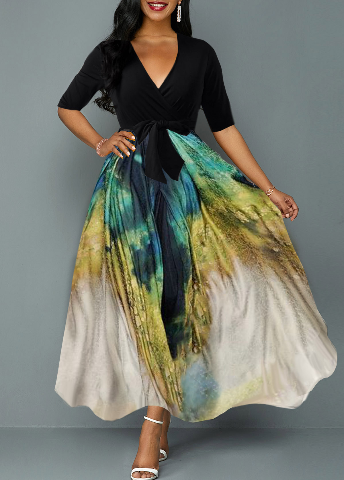 Belted Tie Dye Print Plunging Neck Maxi Dress