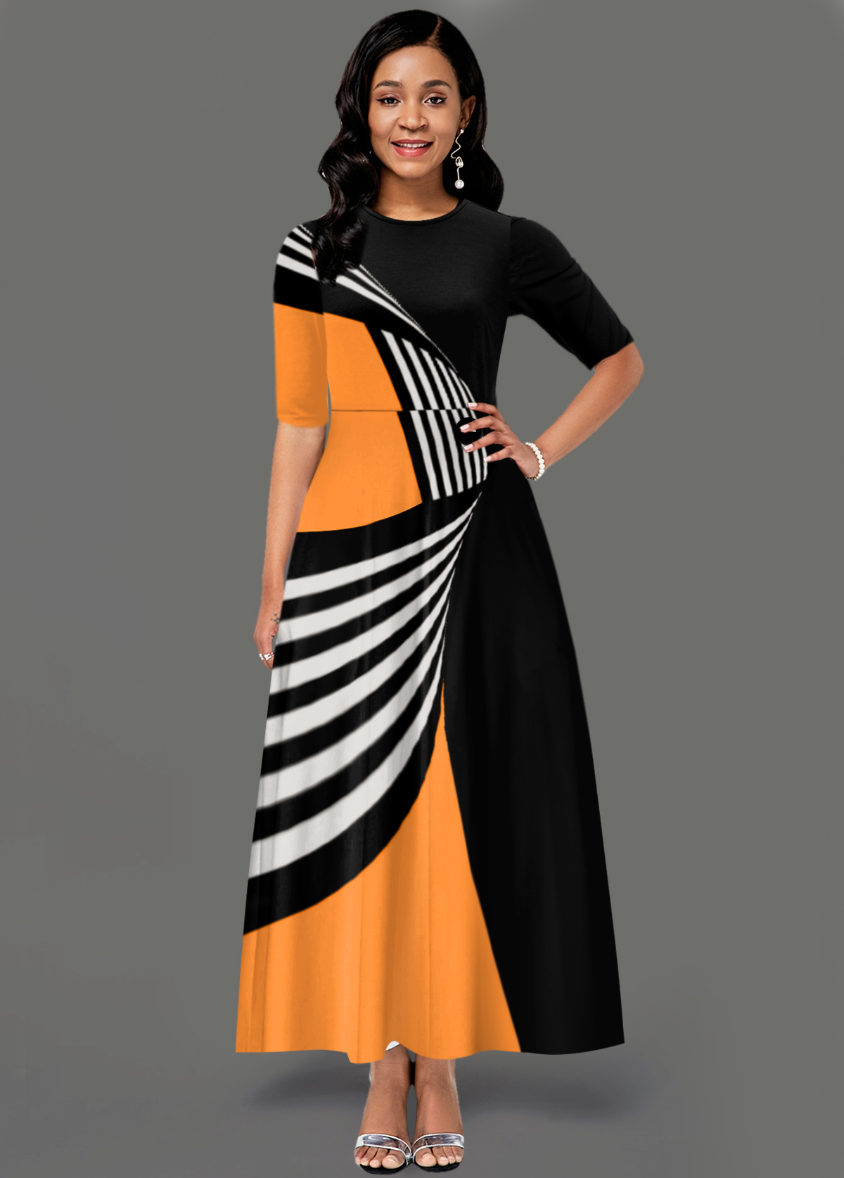 Round Neck Geometric Print Side Pocket Maxi Dress