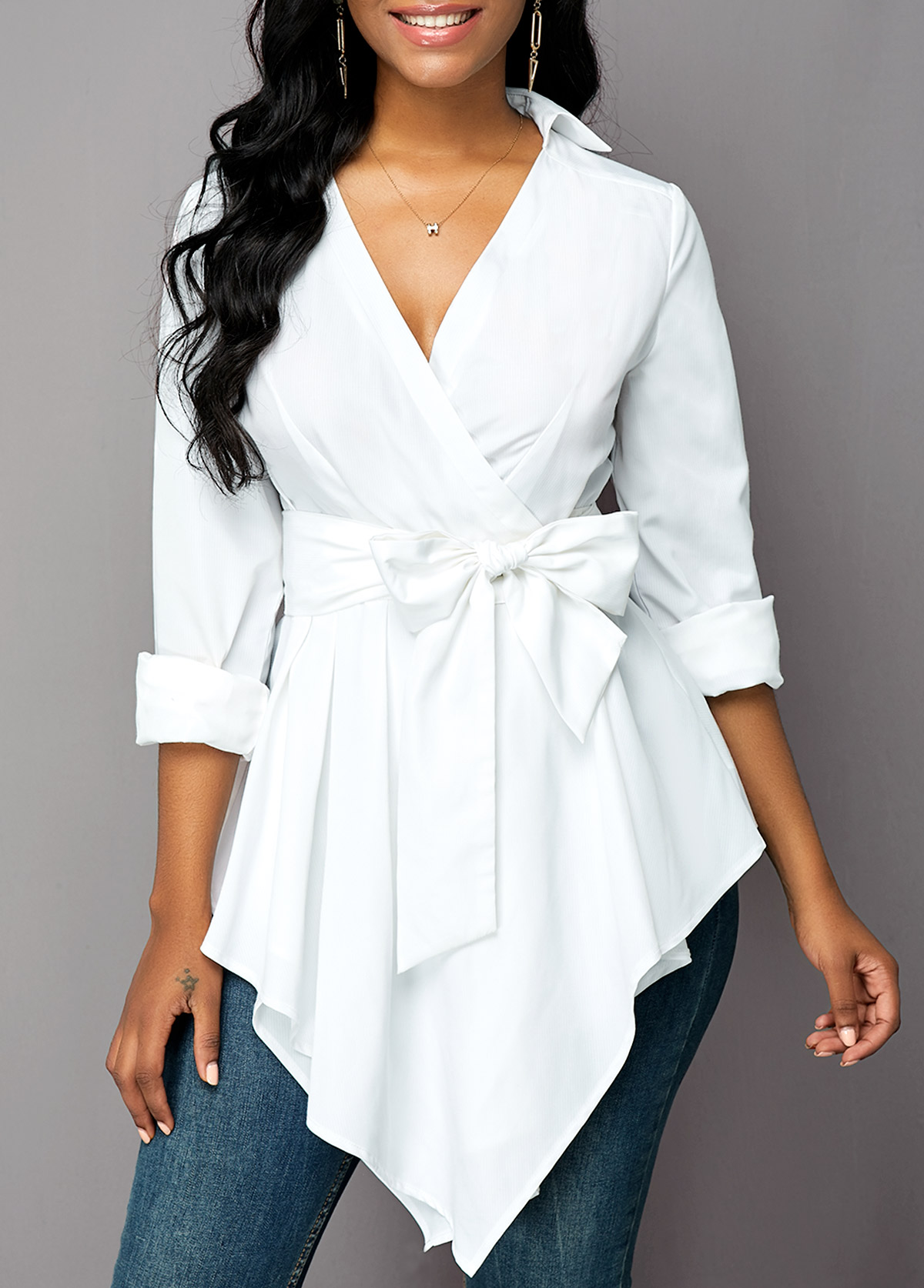 Belted Asymmetric Hem Long Sleeve Blouse